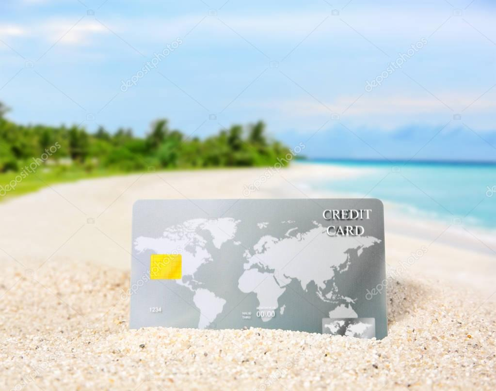 credit card on beach