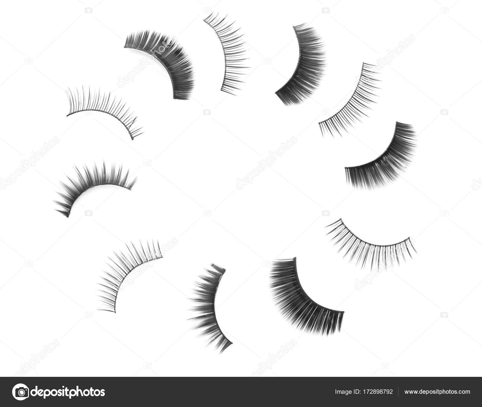 Composition With Different Types Of False Eyelashes Stock Photo