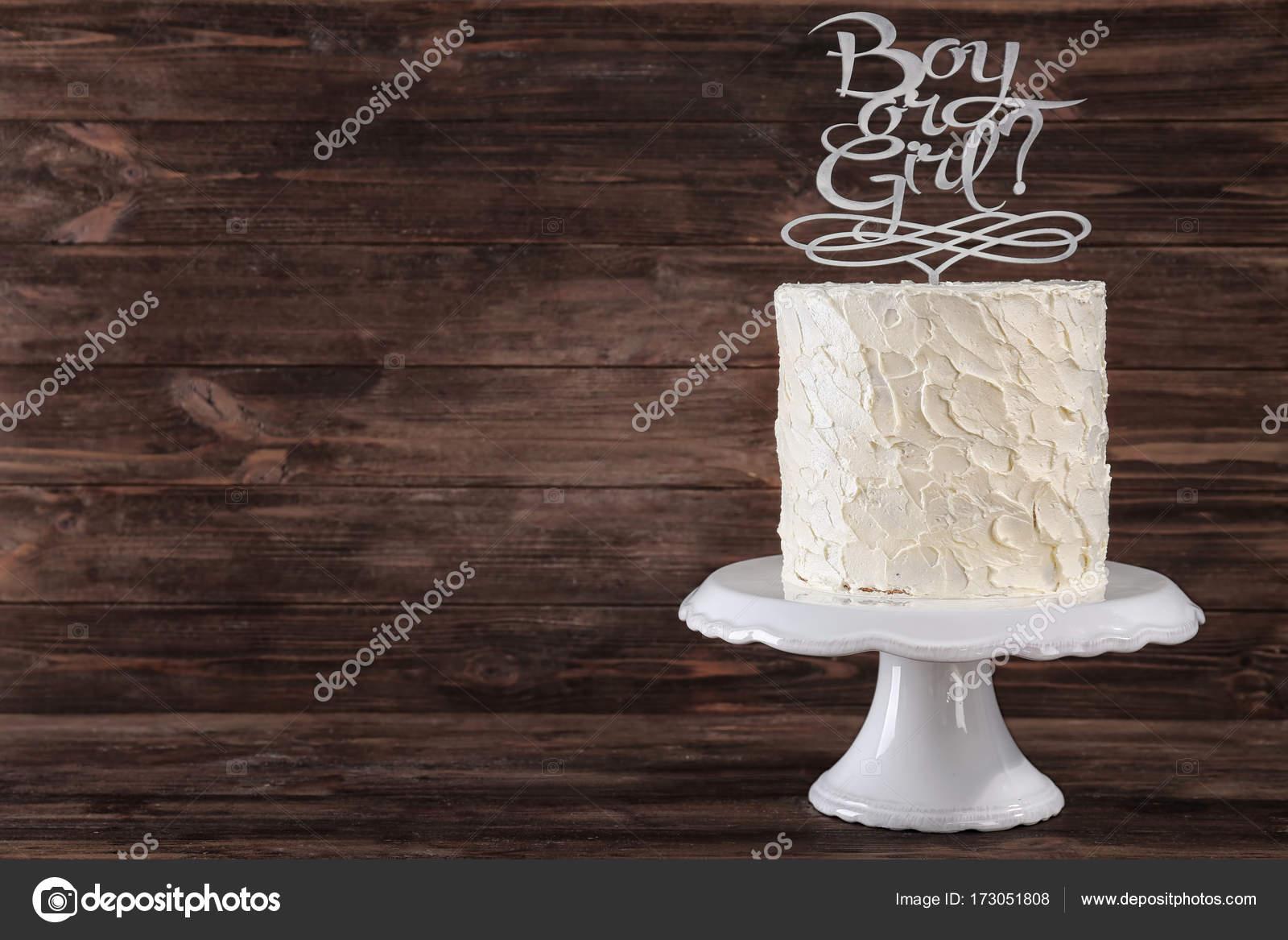 Stoisko Z Pyszne Ciasto Na Baby Shower Strony Zdjęcie Stockowe