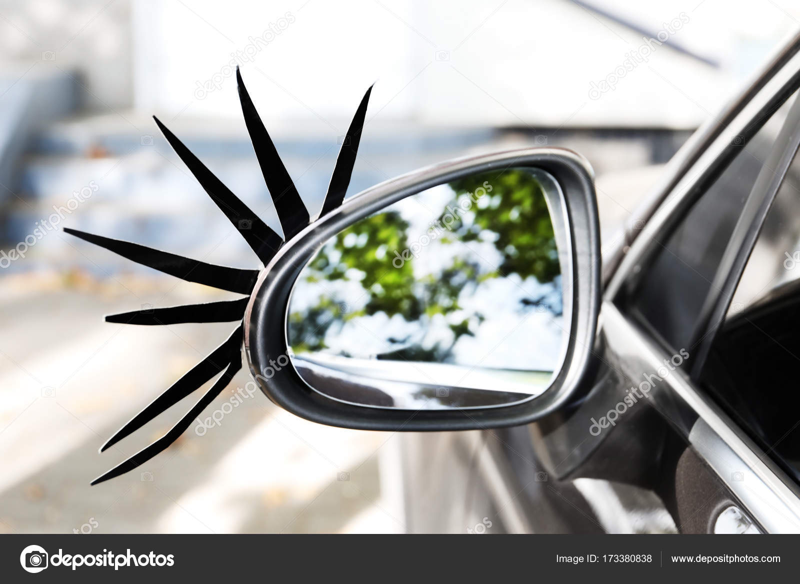 Car With Eyelashes On Side View Stock Photo Belchonock 173380838