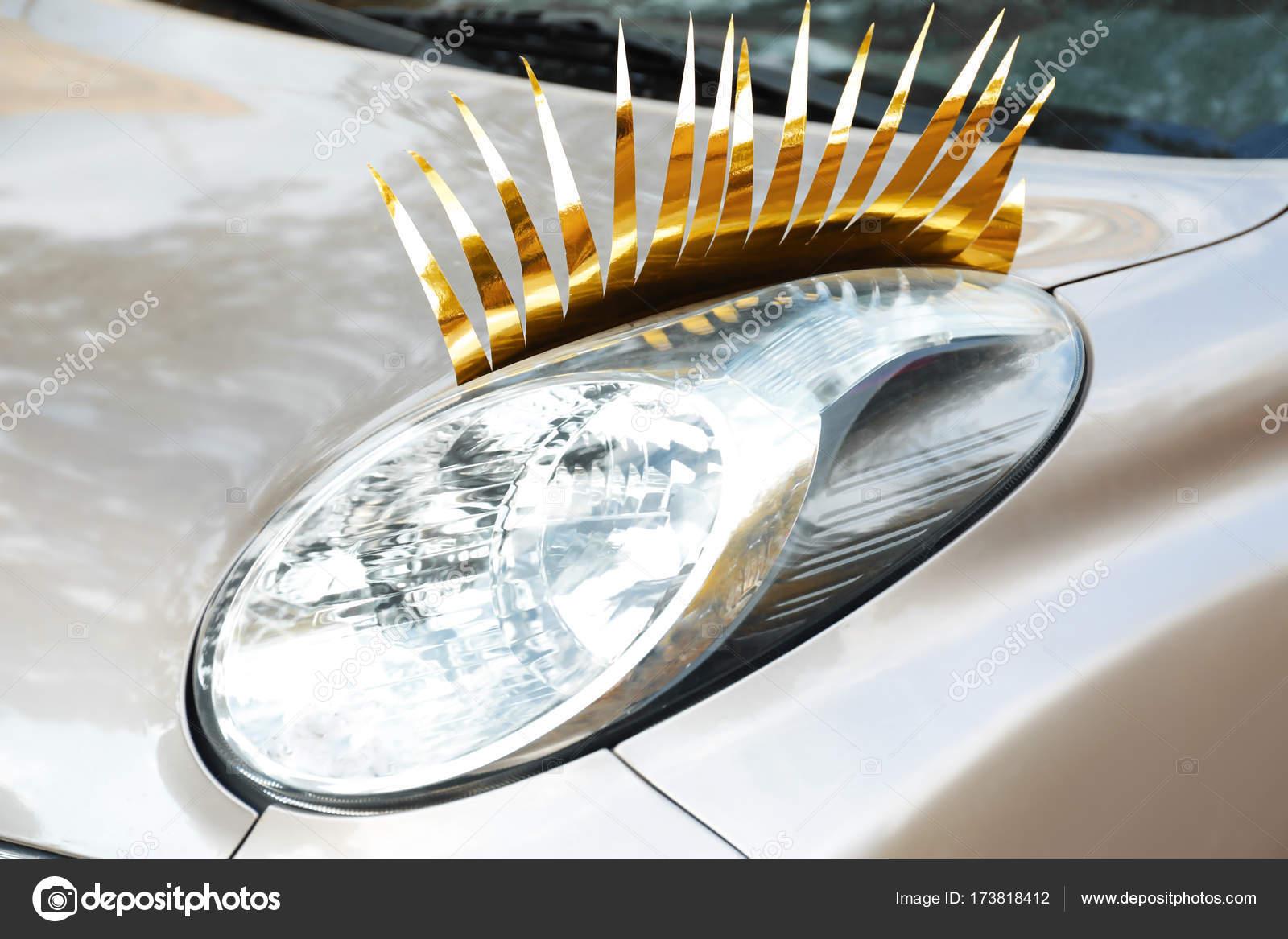 Car With Eyelashes On Headlight Stock Photo Belchonock 173818412