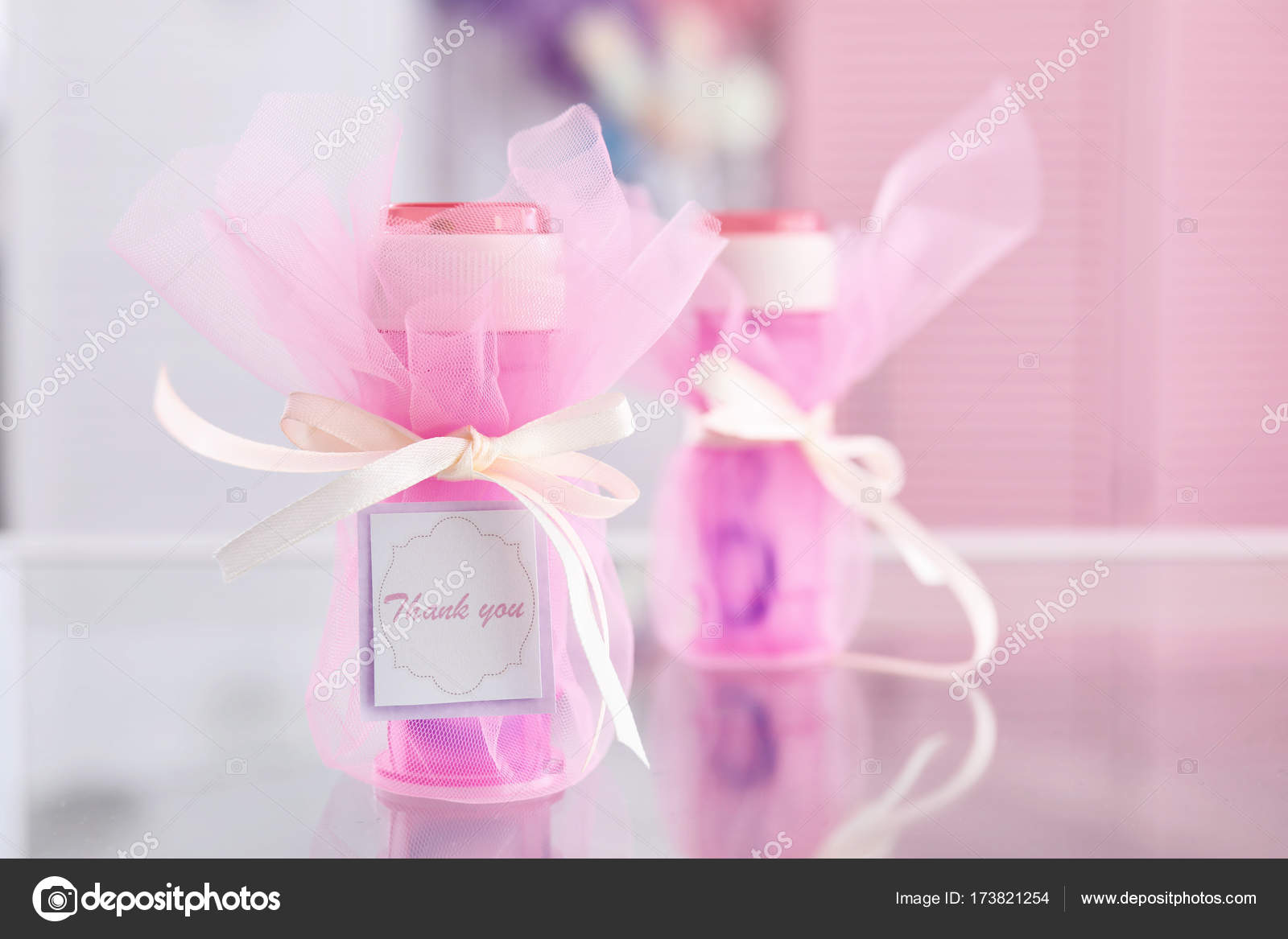 Soap bubble bottle with Thank you card on table — Stock Photo ...