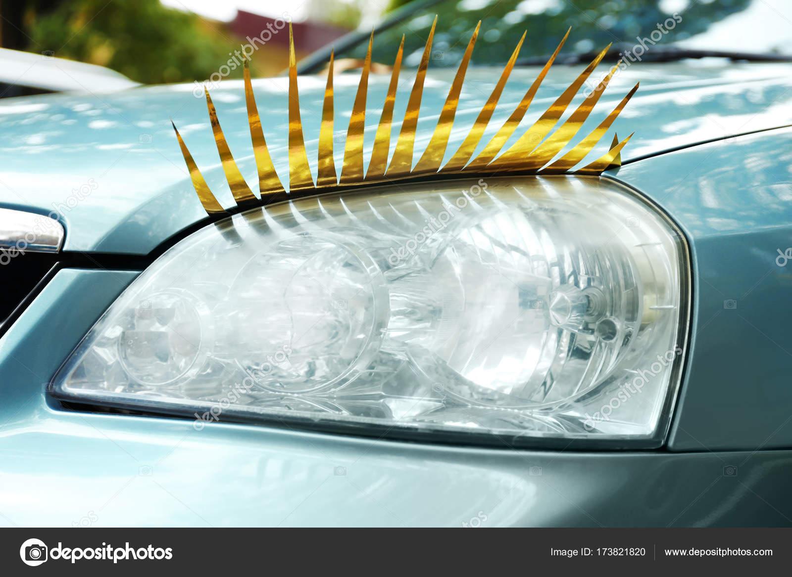 Car With Eyelashes On Headlight Stock Photo Belchonock 173821820