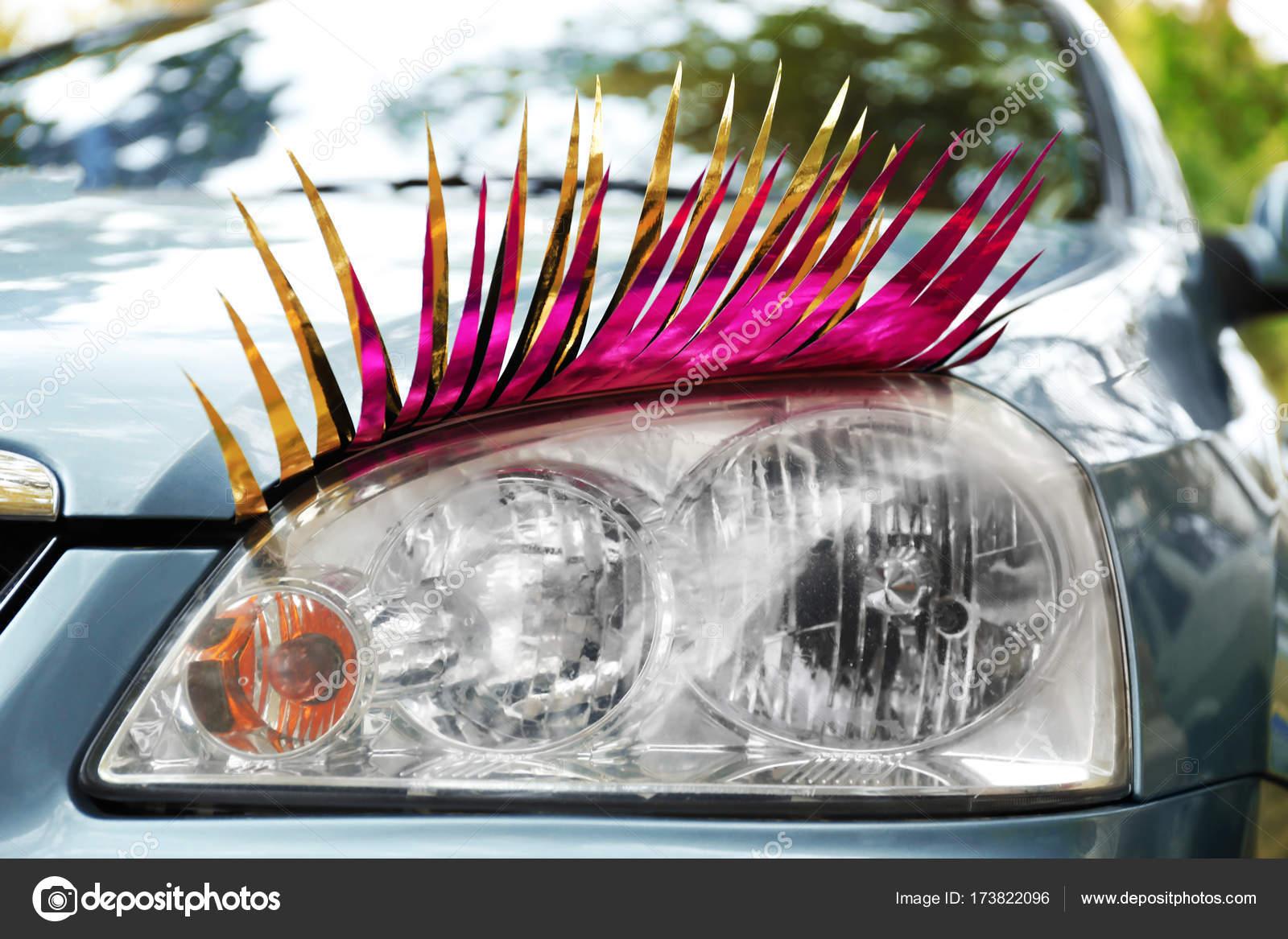 Car With Eyelashes On Headlight Stock Photo Belchonock 173822096