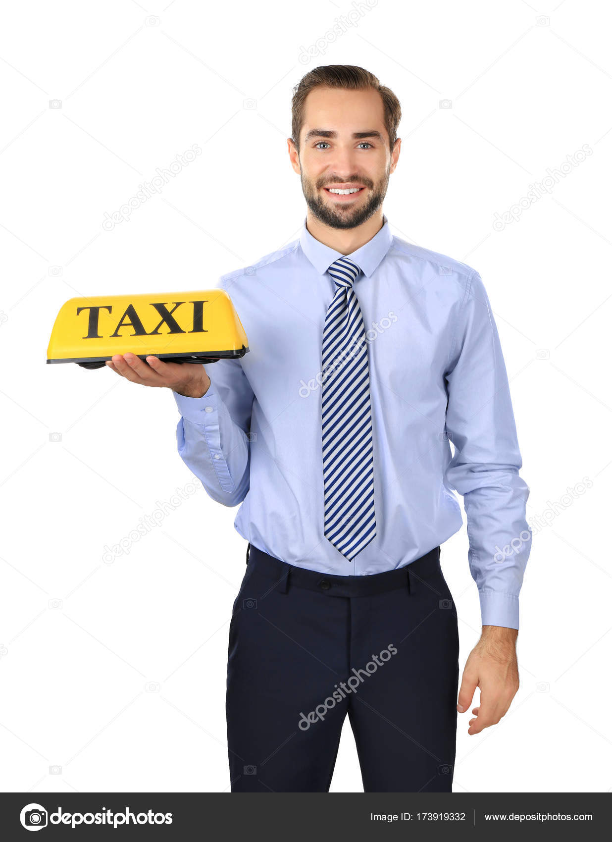 Handsome man with taxi roof light — Stock Photo © belchonock