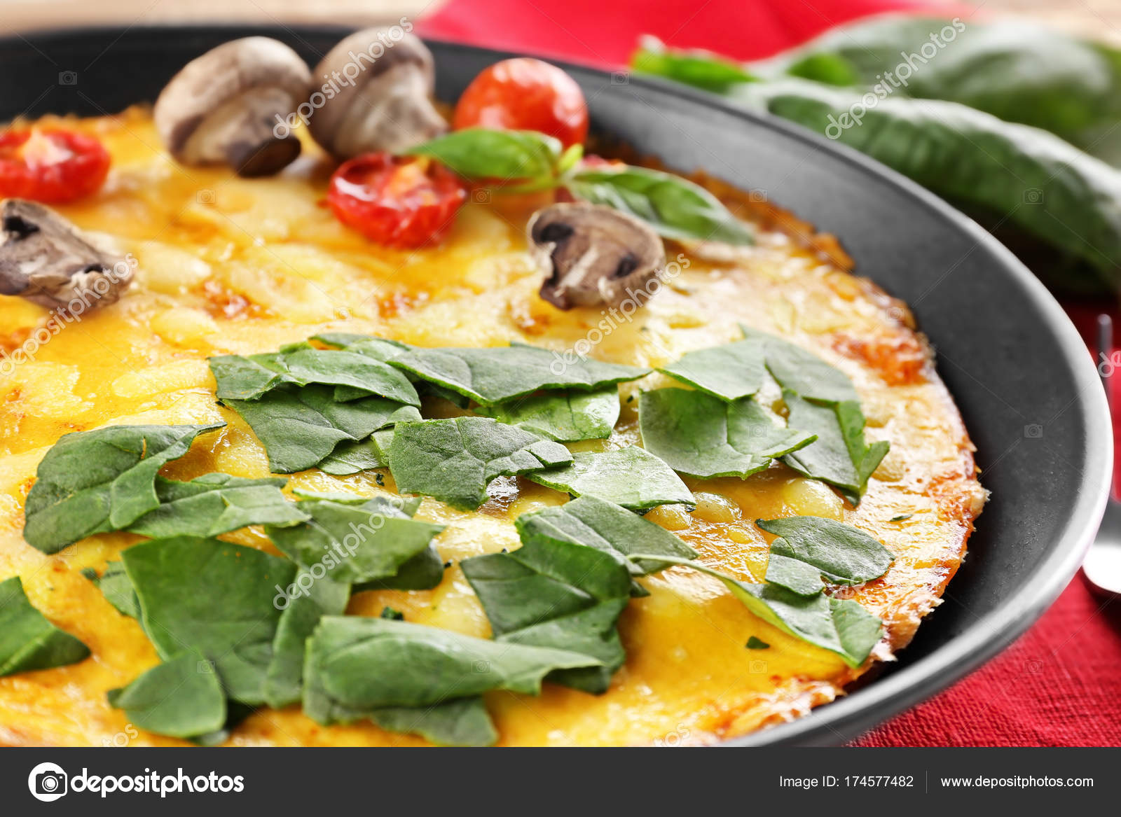 Tasty Frittata With Spinach Stock Photo Image By C Belchonock 174577482