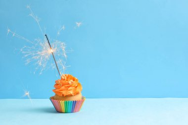 Tasty cupcake with sparkler