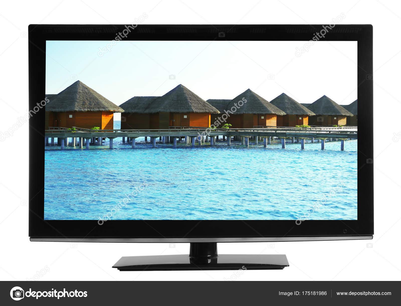 Fernseher Hintergrund moderne fernseher auf weißem hintergrund — stockfoto © belchonock
