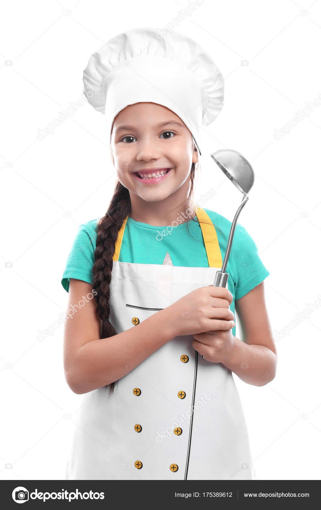 Cute girl in chef hat with ladle — Stock Photo © belchonock  175389612 d36c25ba0ba9