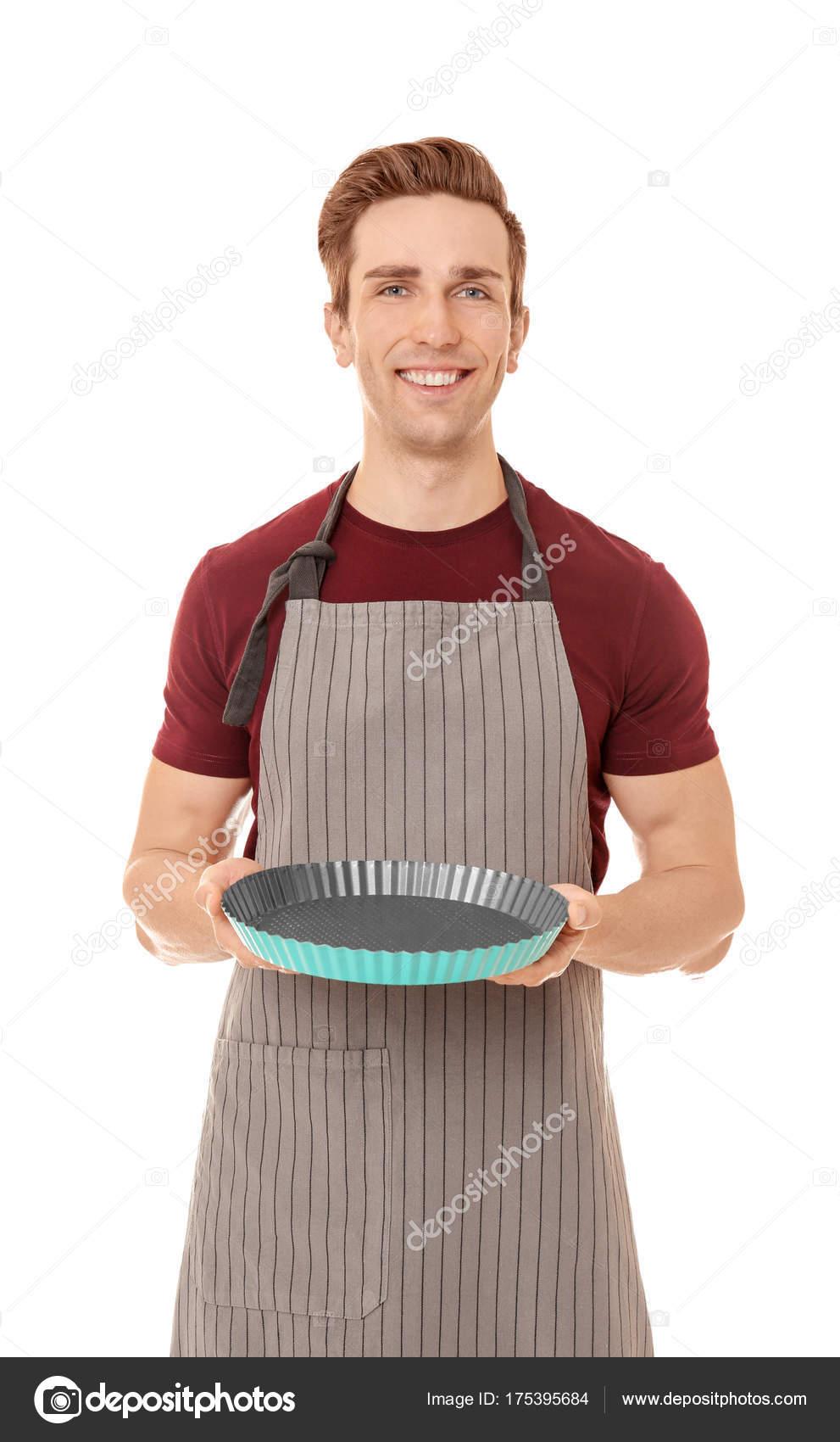 Junger Mann Mit Kuchenform Stockfoto C Belchonock 175395684
