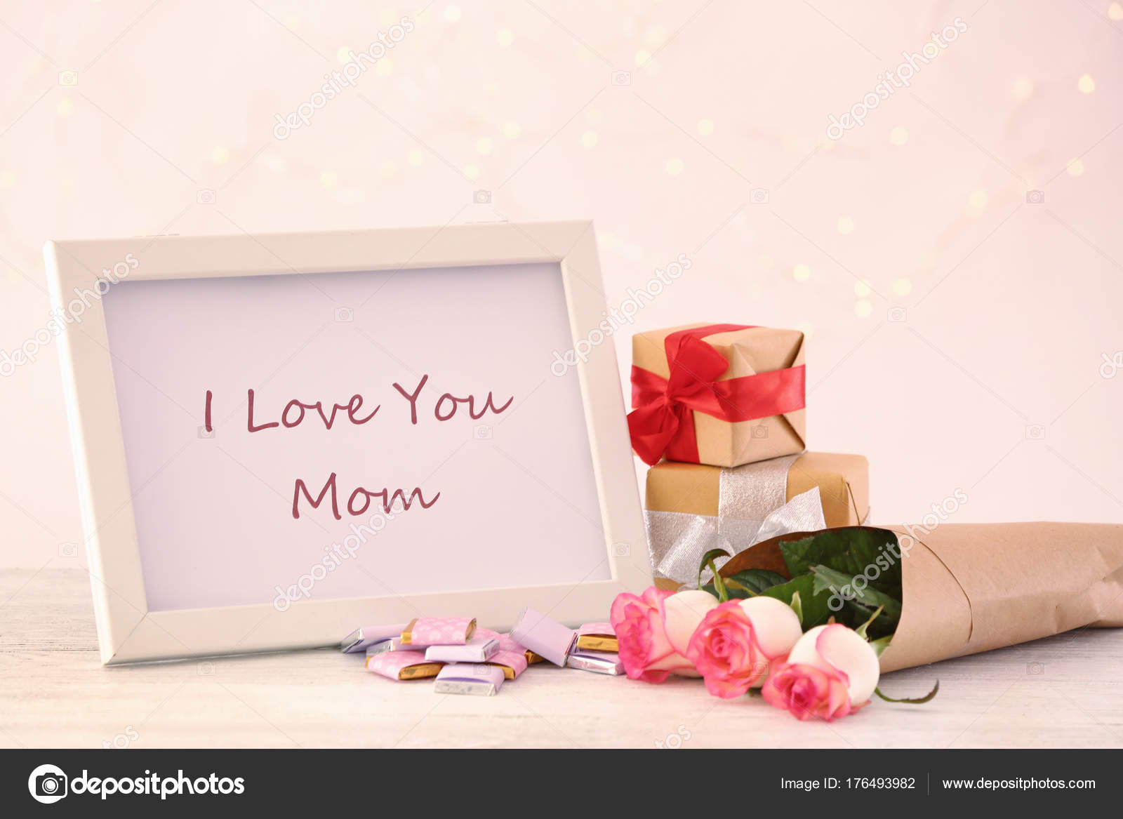 Frame With Text I Love You Mom Gift Boxes And Flowers For Mothers