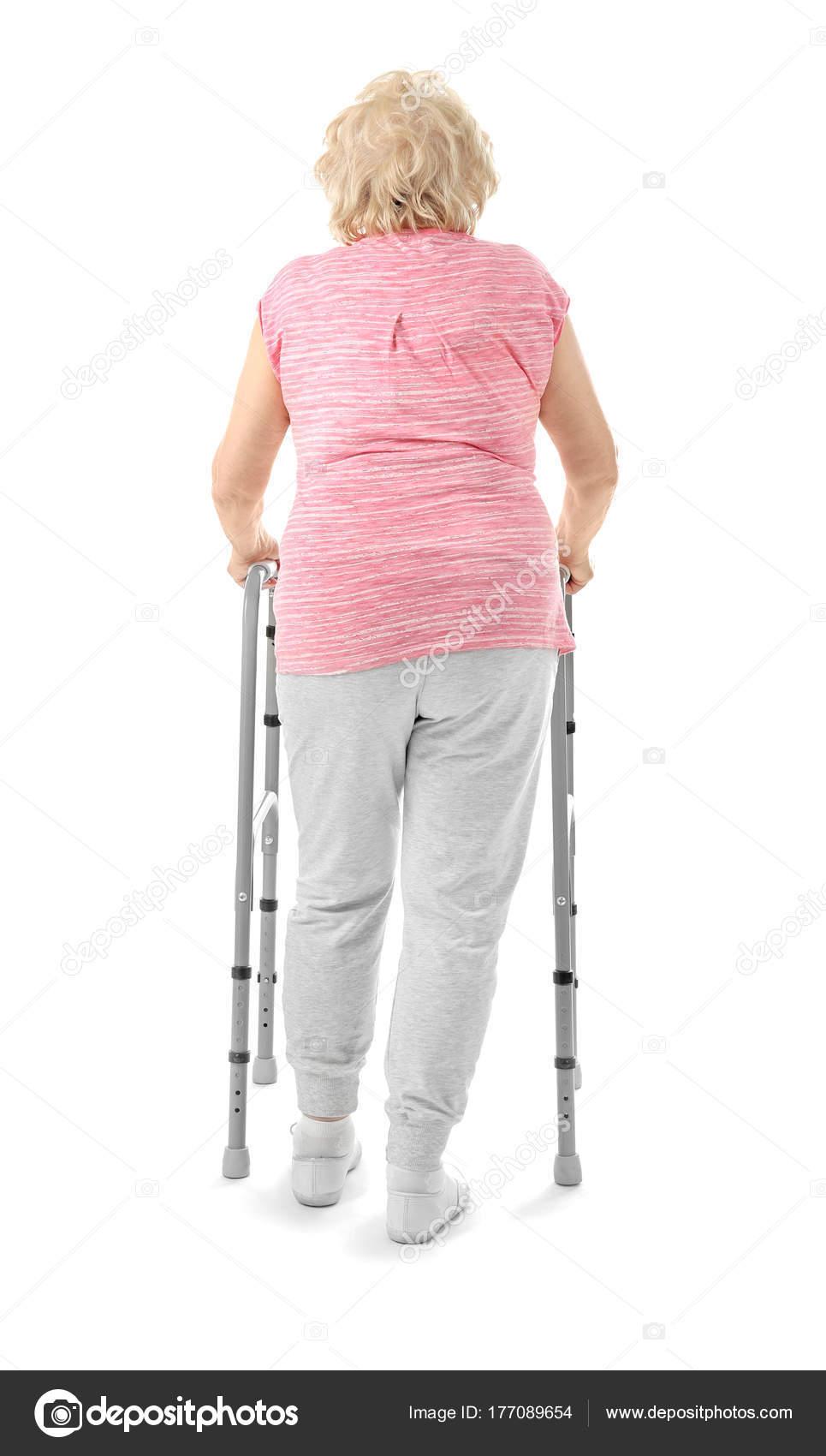 Mujer mayor con poca marco sobre fondo blanco — Foto de stock ...
