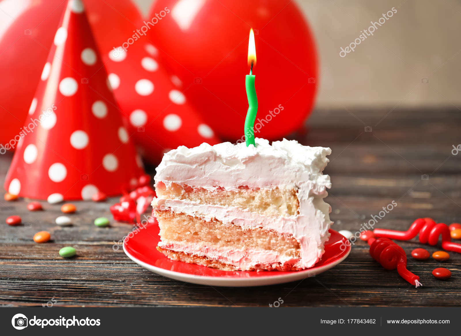Admirable Piece Of Birthday Cake With Candle On Table Stock Photo Personalised Birthday Cards Petedlily Jamesorg
