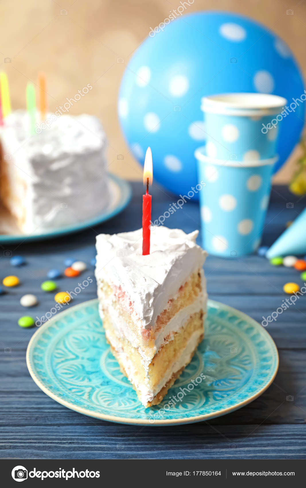 Remarkable Piece Of Birthday Cake With Candle On Table Stock Photo Personalised Birthday Cards Petedlily Jamesorg