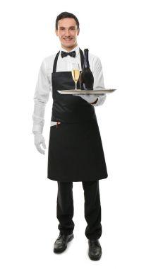 Waiter holding tray with bottle of wine on white background
