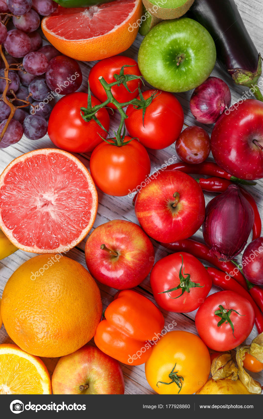 Creative Composition Made Fruits Vegetables Rainbow Colors ...
