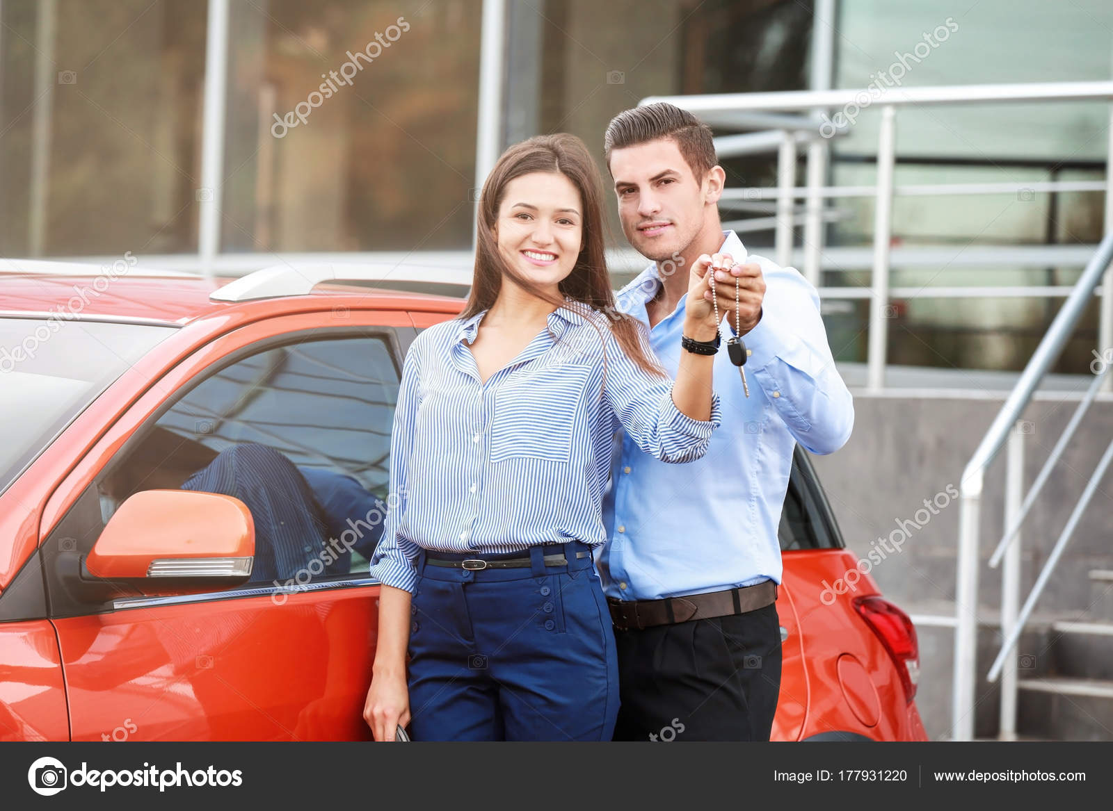 Young Couple Key New Car Outdoors Stock Photo C Belchonock 177931220