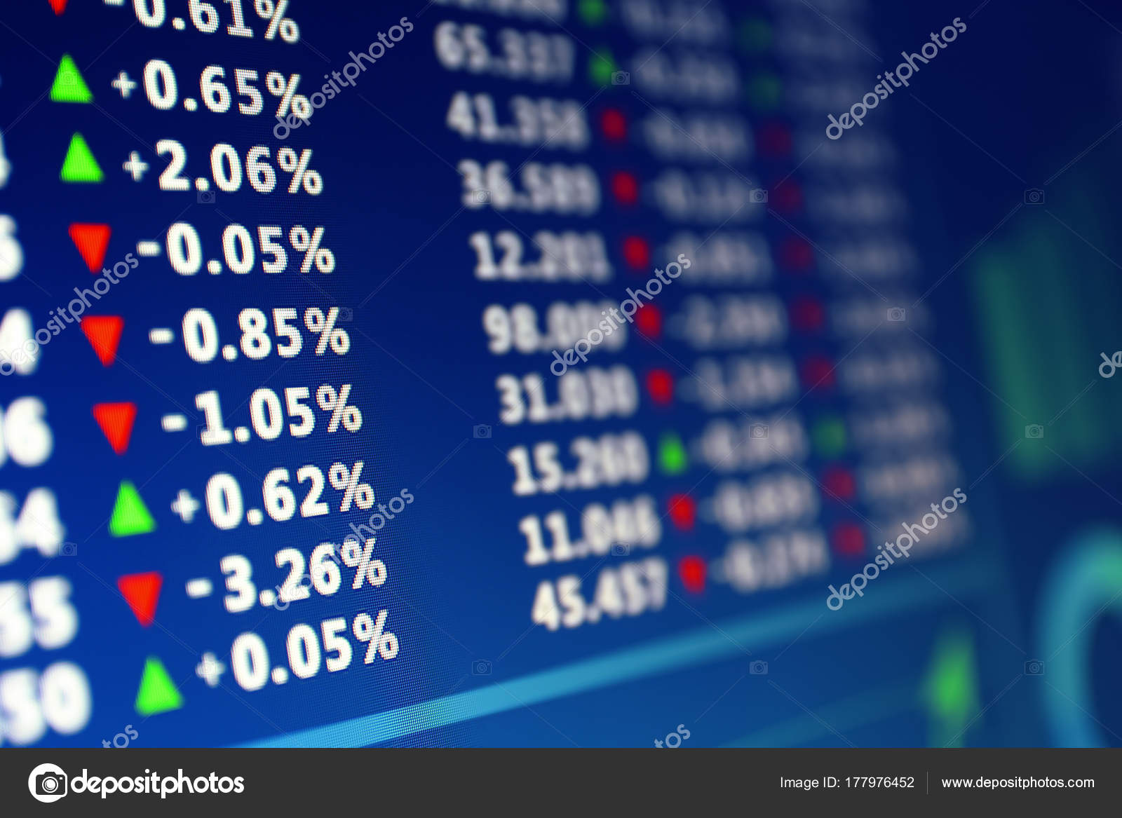 Monitor Stock Exchange Data Closeup — Stock Photo