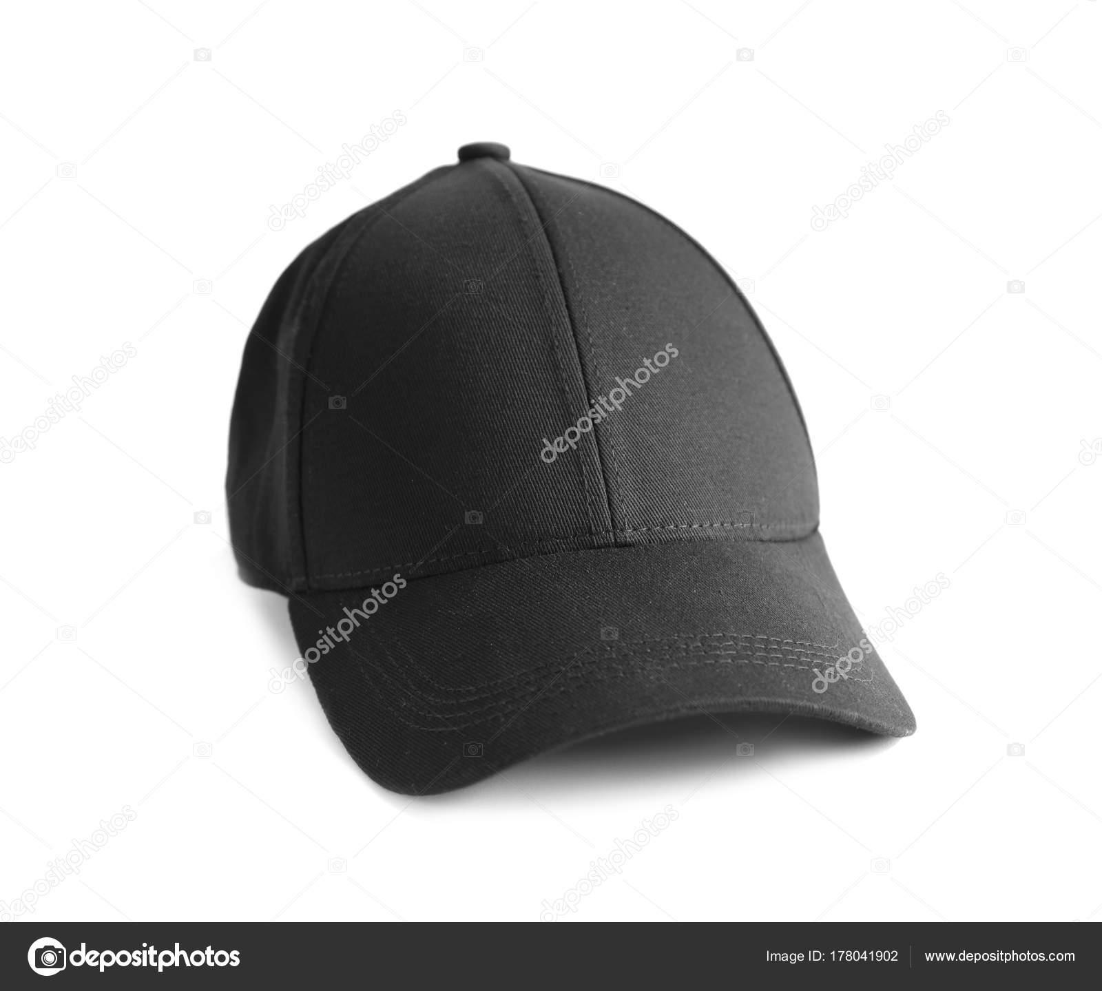 Gorra Negra Sobre Fondo Blanco Maqueta Para Diseño — Foto de Stock e8eb60ea901