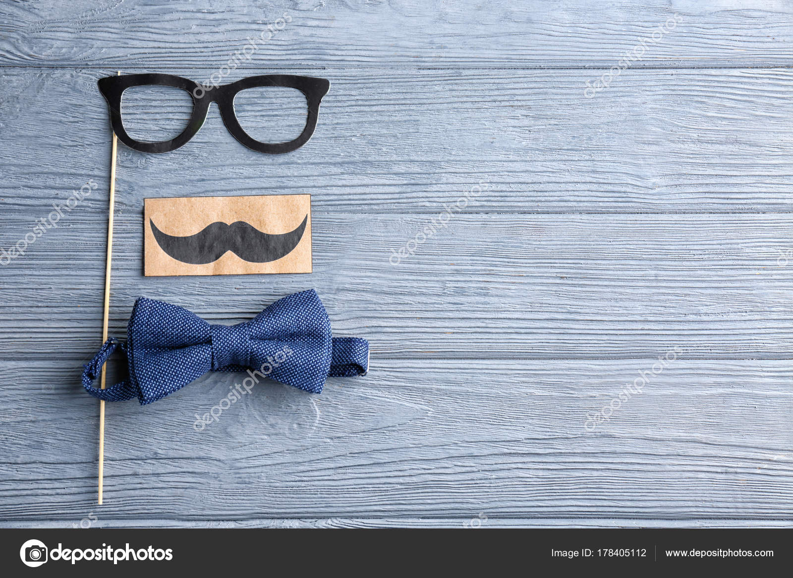 Bow Tie And Paper Decorations On Wooden Background Father S Day
