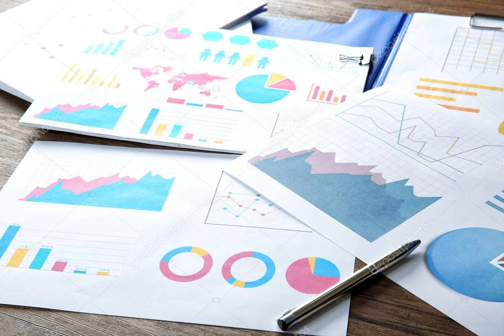 Documents with graphs and charts