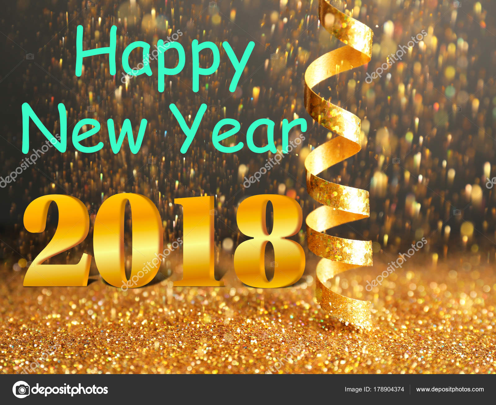 message happy new year 2018 with festive streamer and shiny glitter on background stock photo