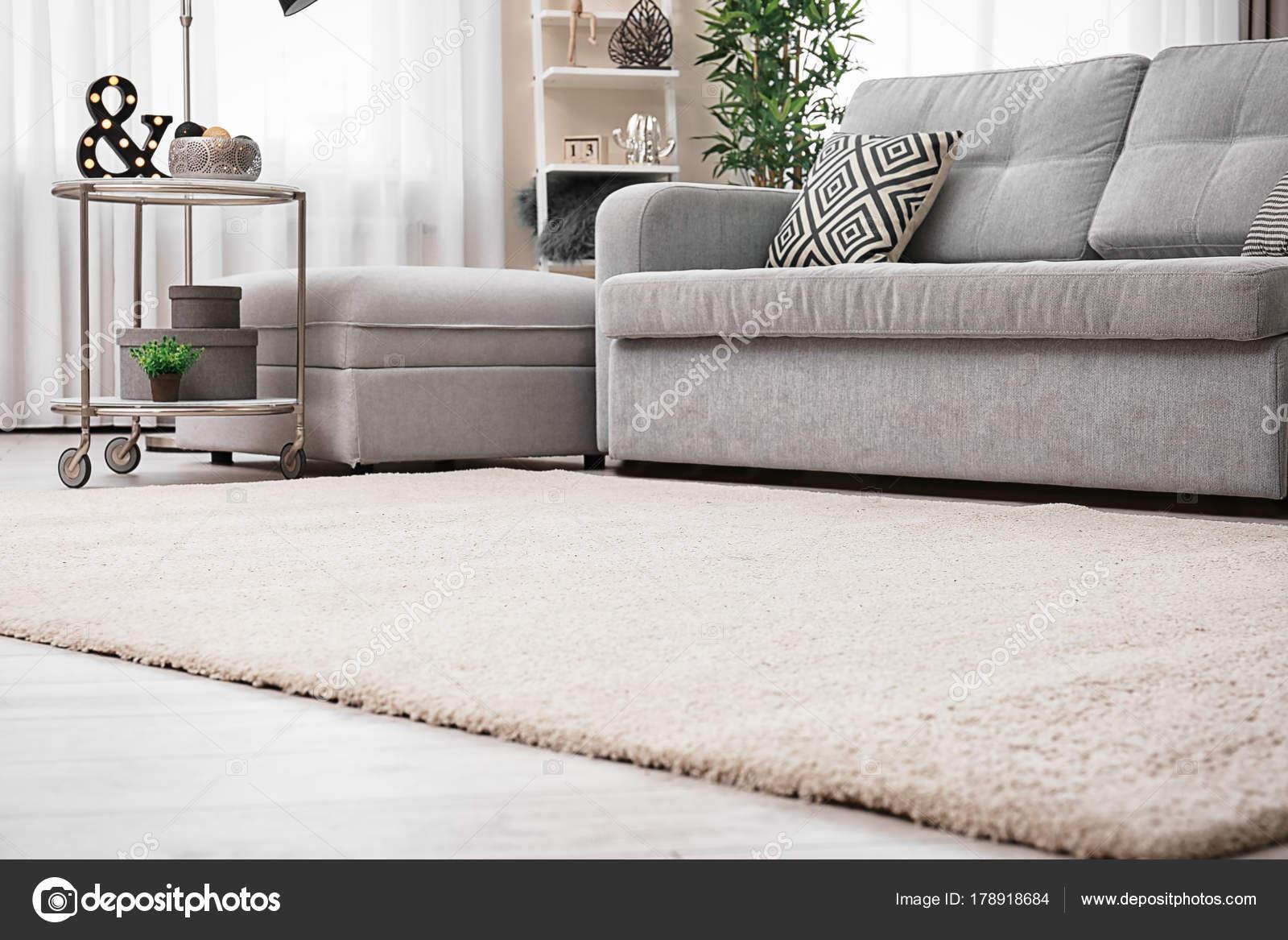 Moderne Wohnzimmer Interieur Mit Gemütlichen Sofa Und Weichen Teppich U2014  Stockfoto