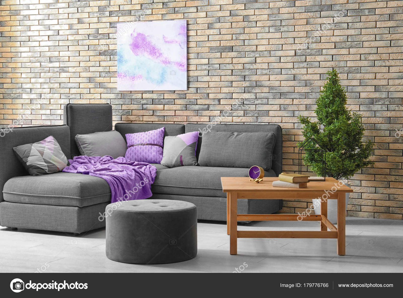 Modern Living Room Interior Comfortable Couch Grey Ottoman