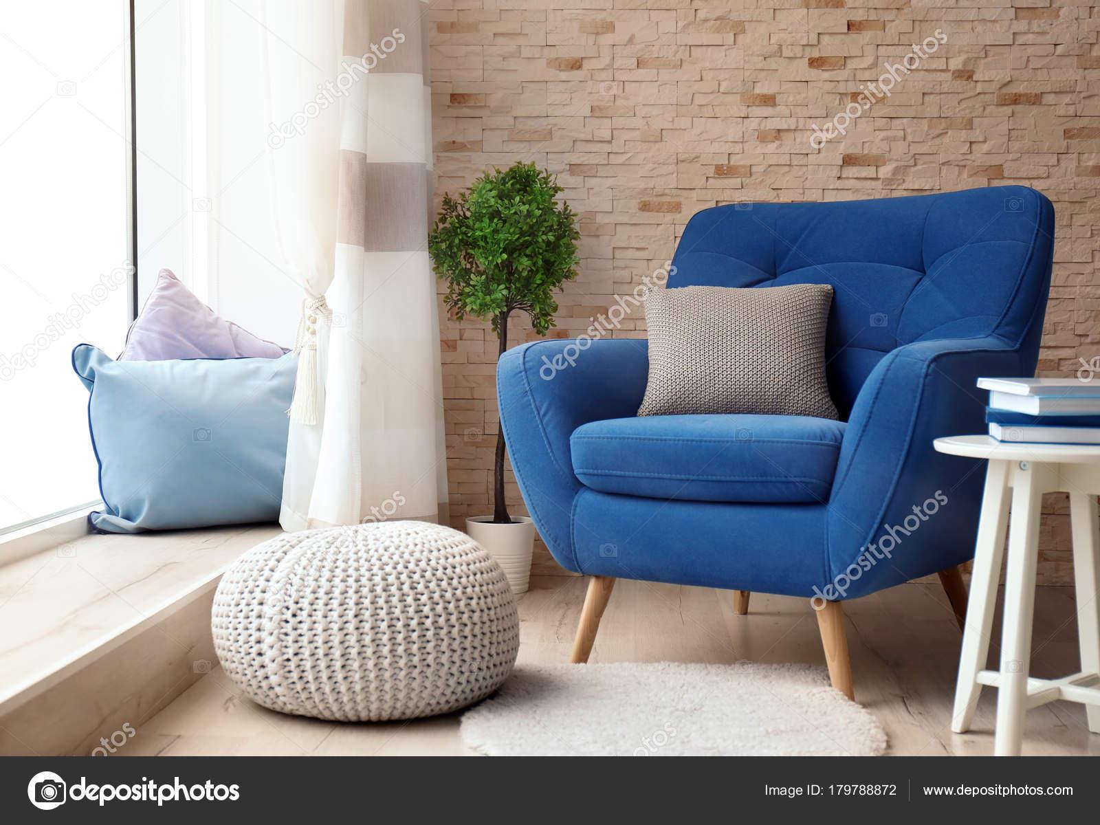 Interior living room comfortable armchair stock photo