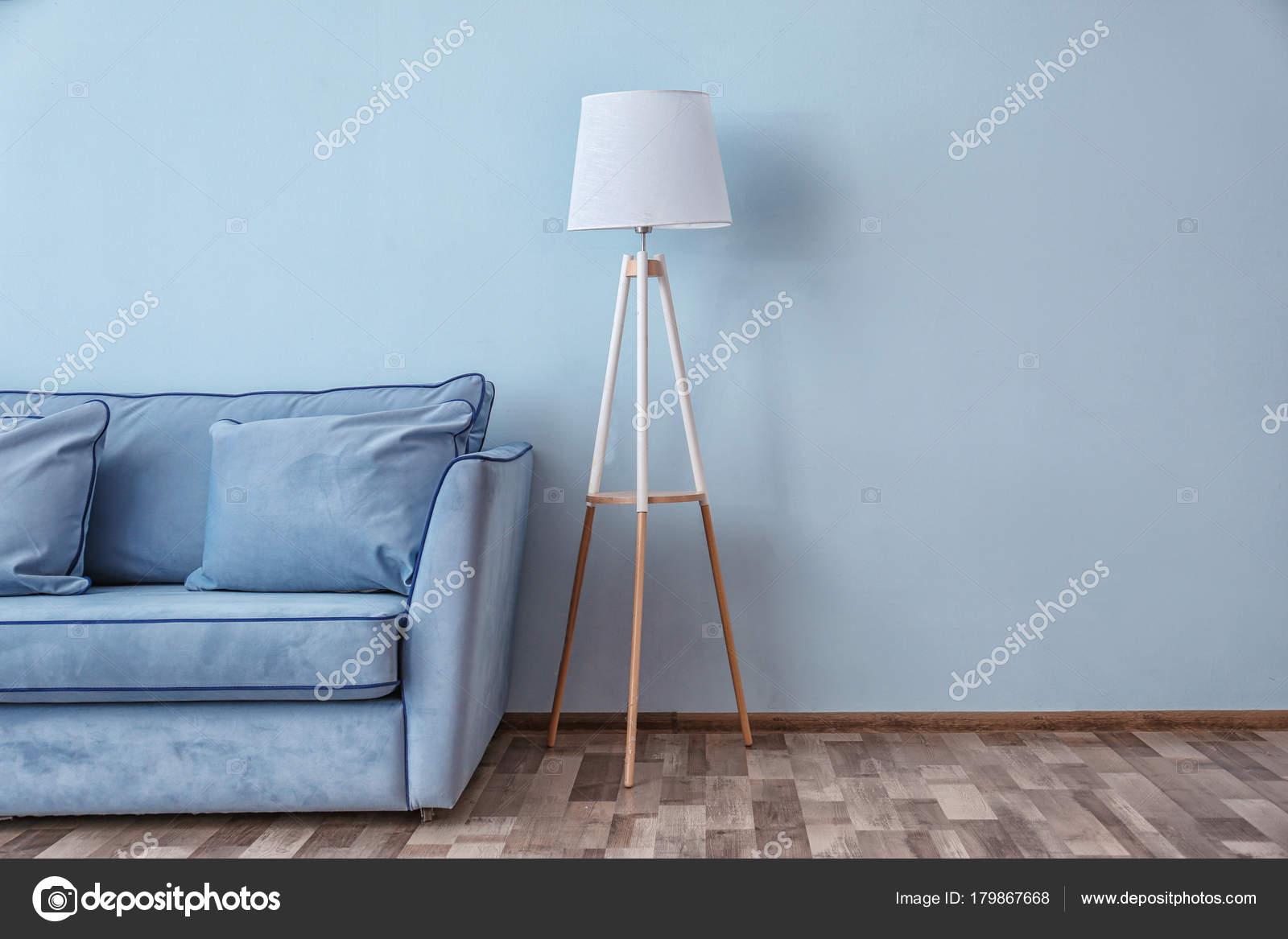 Pleasing Blue Couch Floor Lamp Color Wall Stock Photo C Belchonock Uwap Interior Chair Design Uwaporg