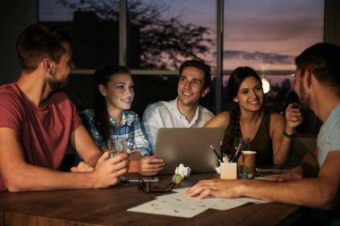 professionals having late night meeting