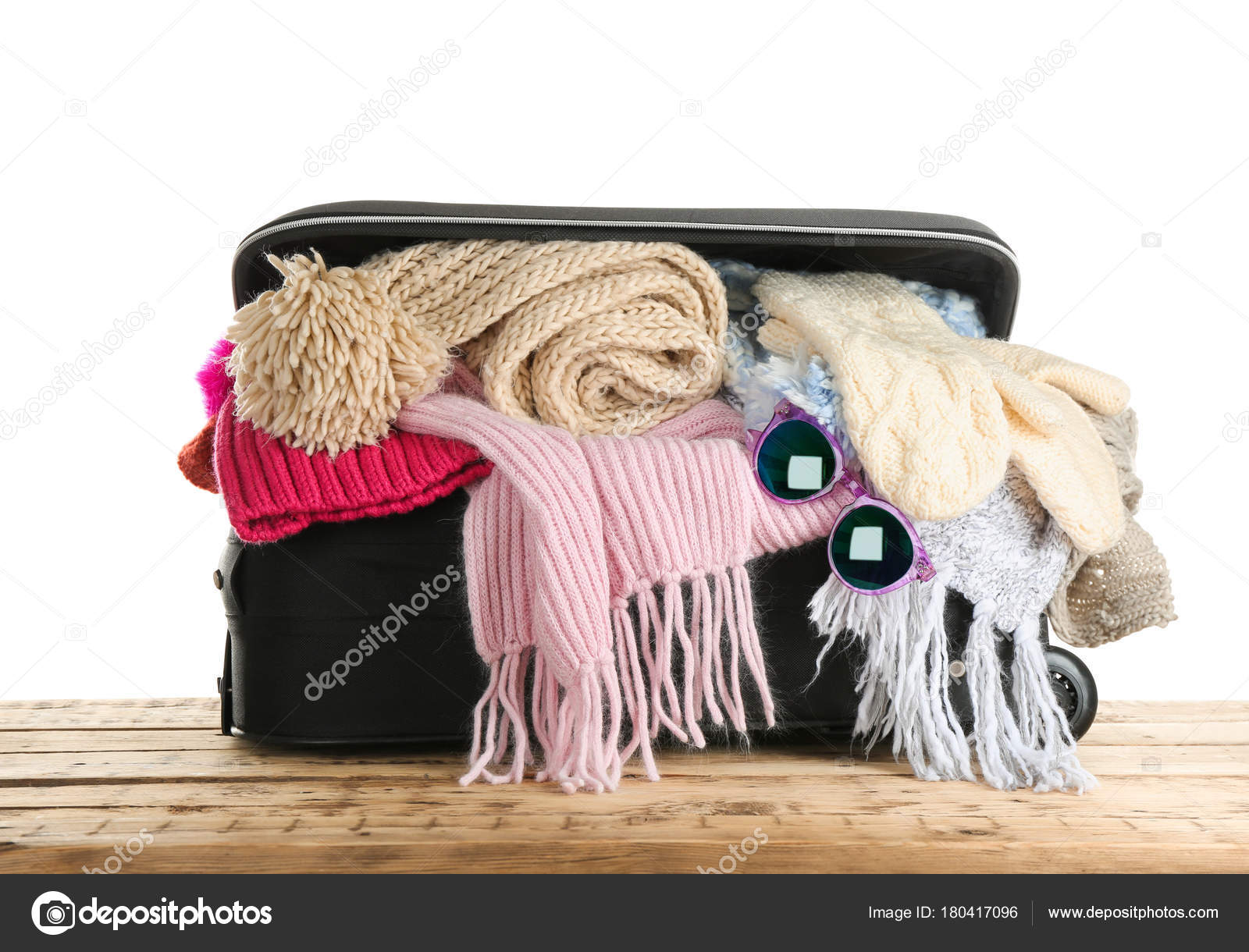 7b52d72ecdd Open Suitcase Warm Clothes Wooden Table White Background Winter Vacation —  Stock Photo