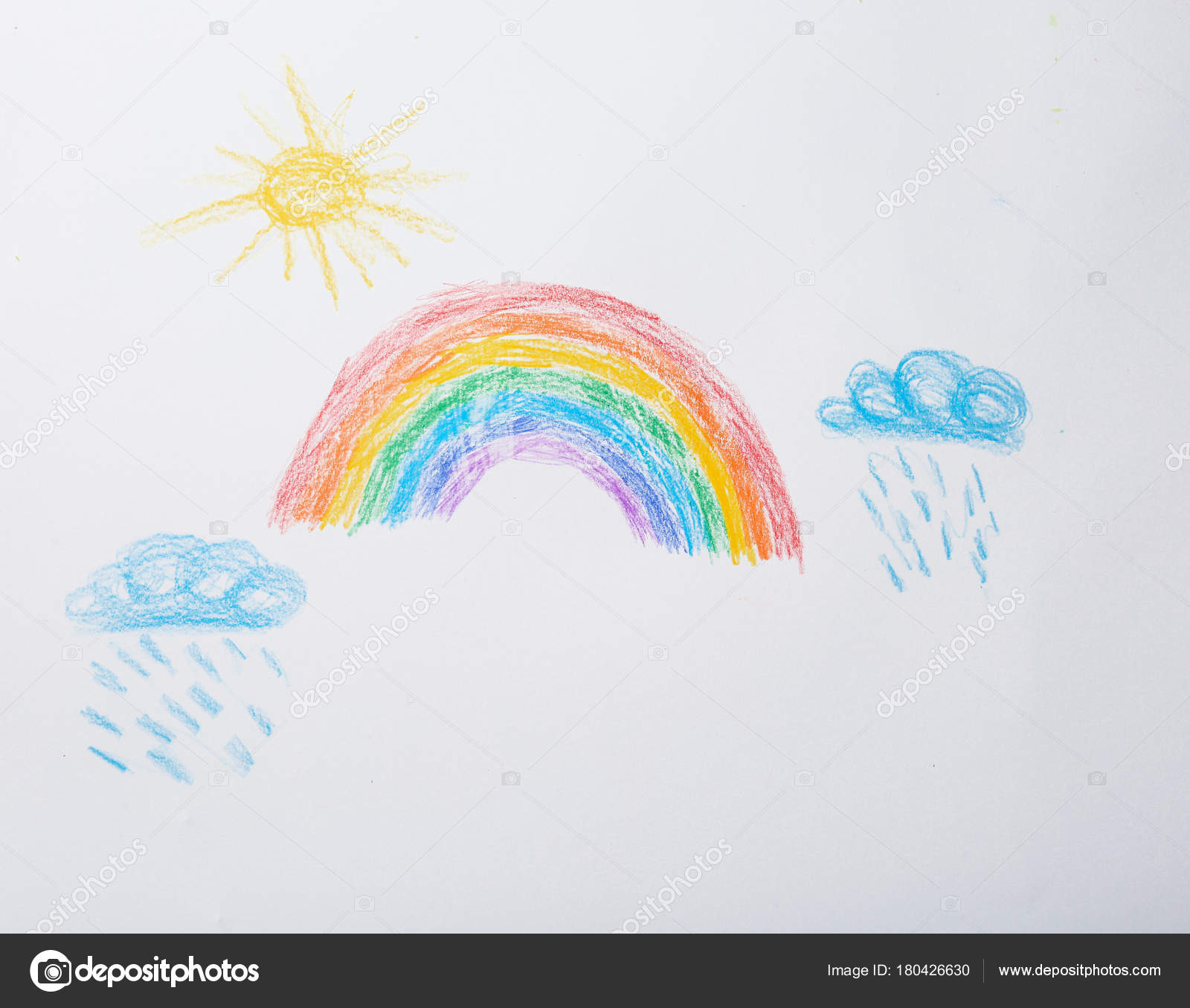 Childish Drawing Sky Rainbow Stock Photo C Belchonock 180426630