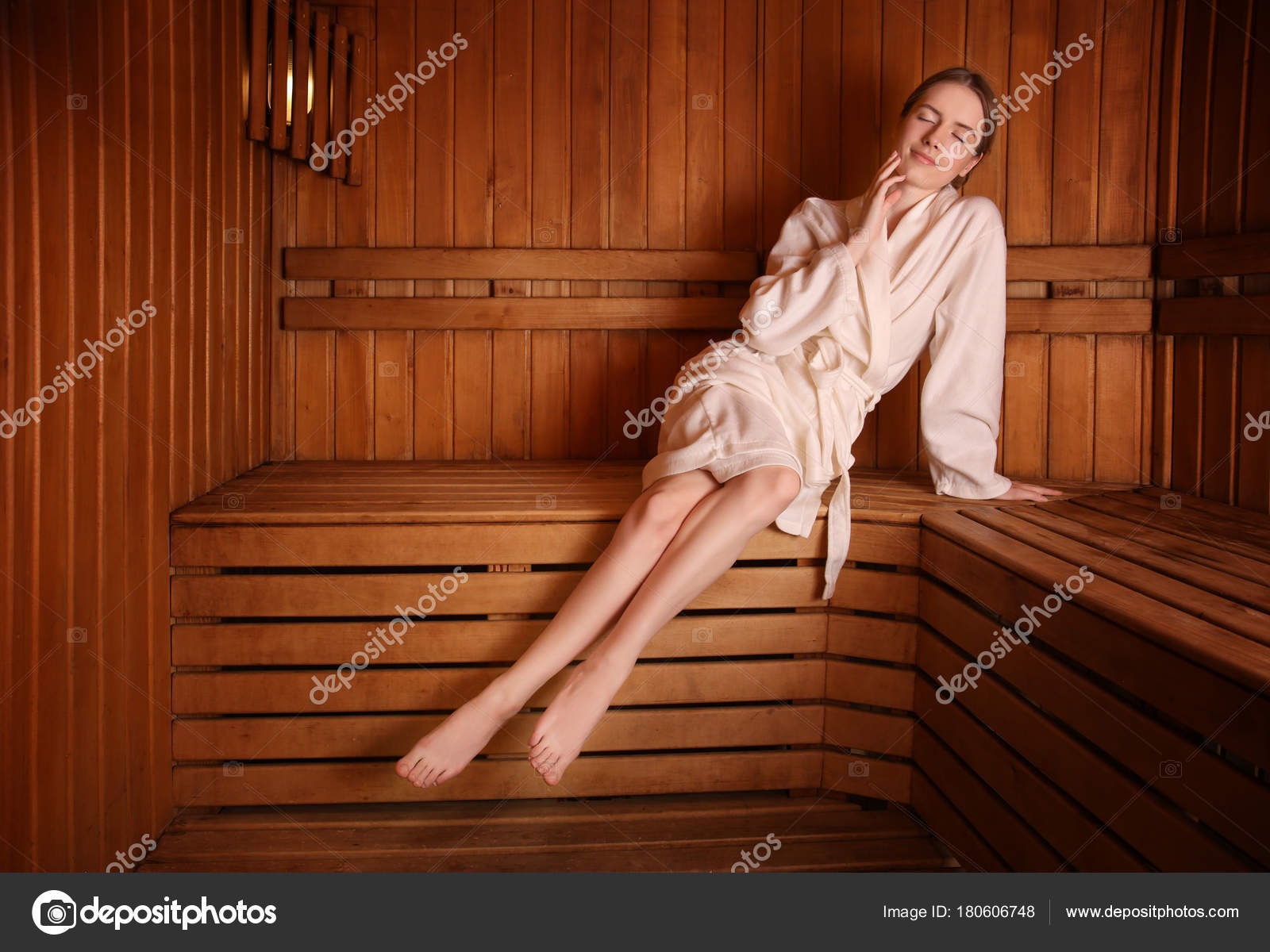 Amazing Young Woman Sitting Wooden Bench Sauna Stock Photo Ocoug Best Dining Table And Chair Ideas Images Ocougorg