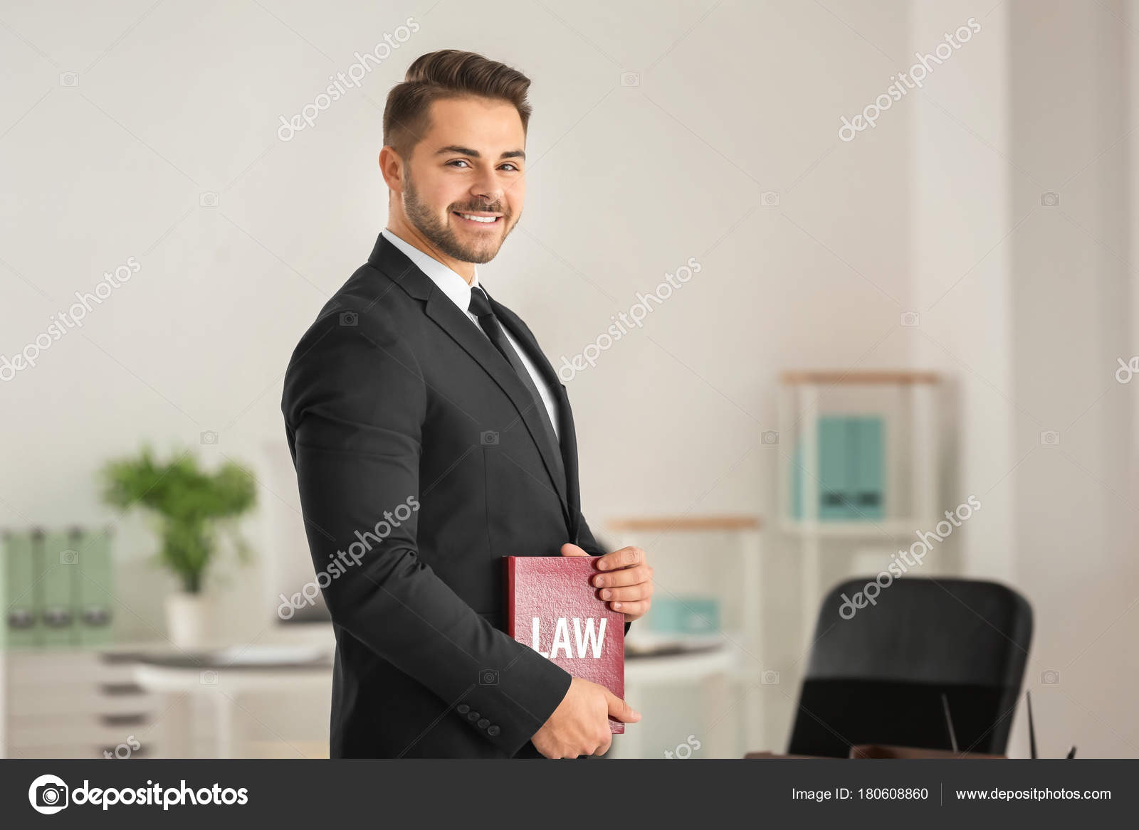 Handsome Young Lawyer Office — Stock Photo © belchonock #180608860