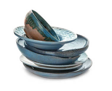 Ceramic tableware on white background