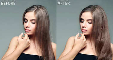 Beautiful young woman before and after procedure of hair extension in professional salon on color background