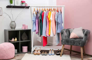 Neat dressing room interior with clothes rack