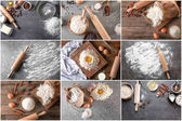 Fotografie Collage with cooking utensils, flour and other ingredients for bakery products