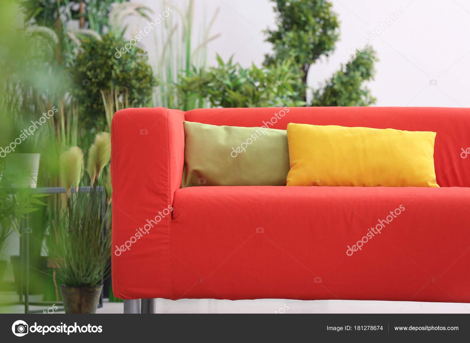 Divano Rosso Cuscini : Comodo divano rosso con cuscini camera u foto stock belchonock