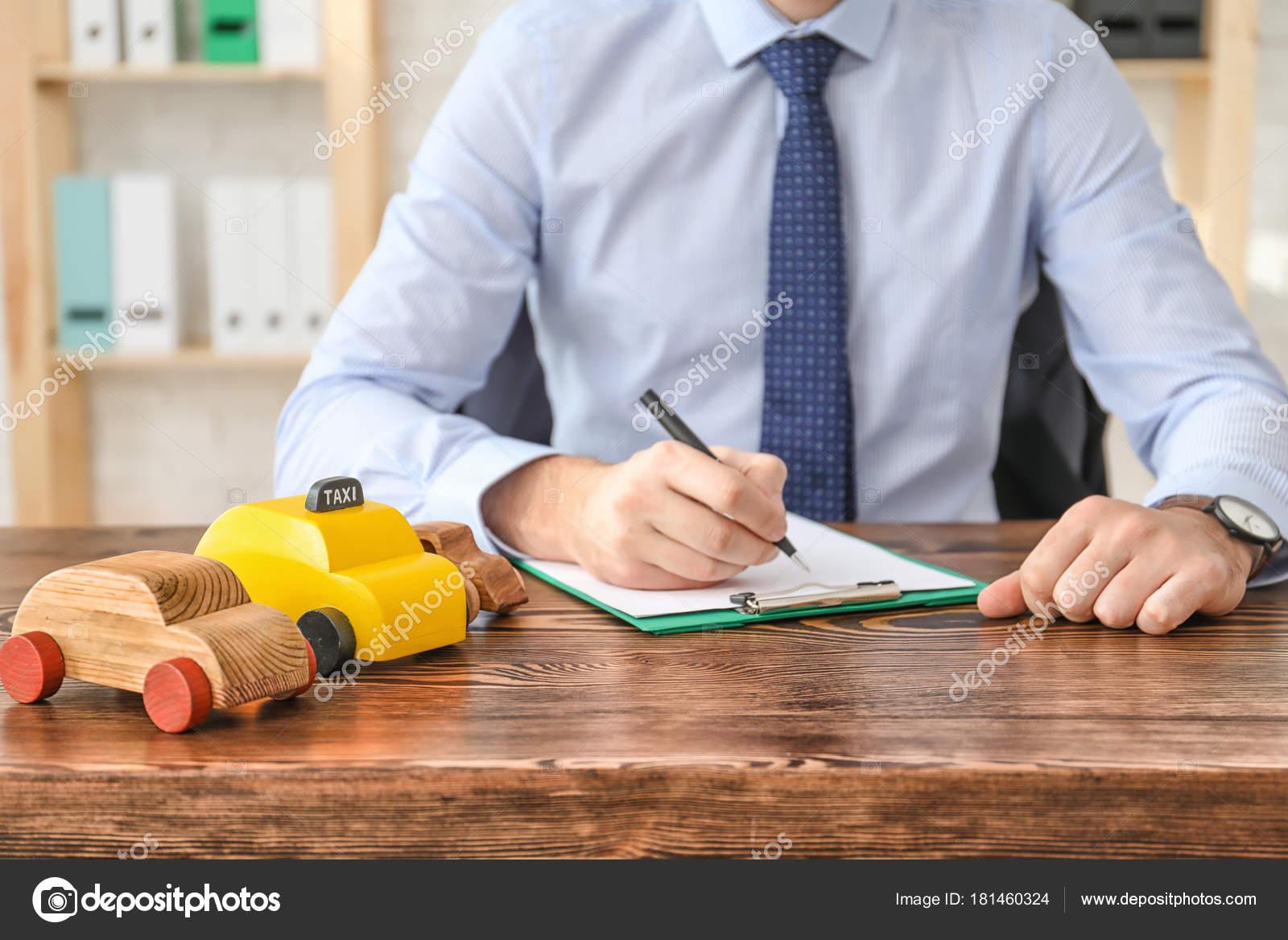 Auto insurance agent at workplace, closeup — Stock Photo ...