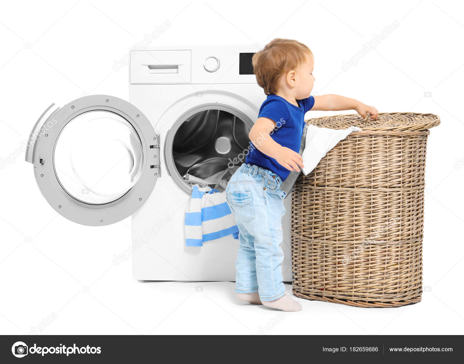 cute little boy doing laundry white background — stock photo