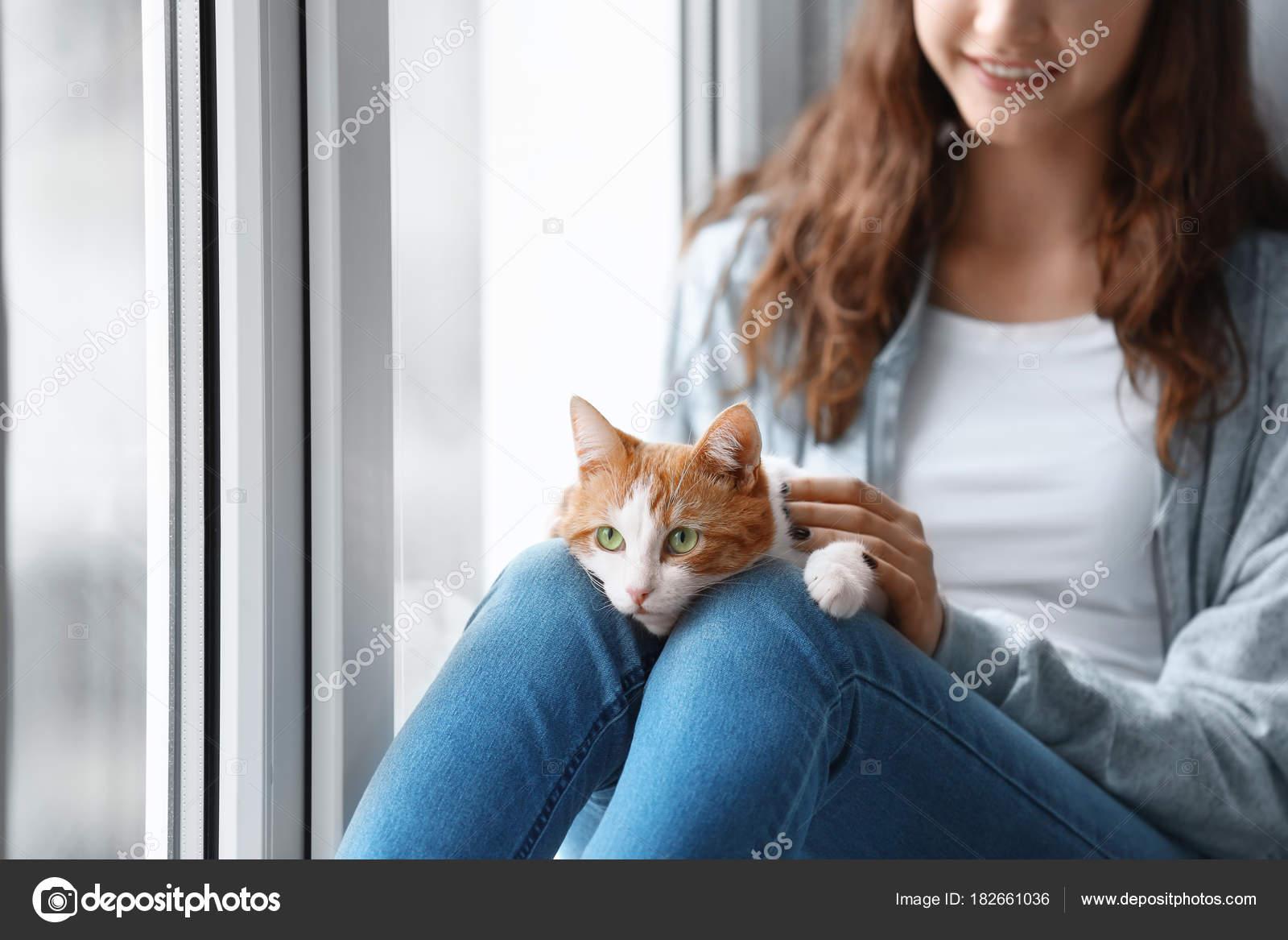 Beautiful Young Woman Cute Cat Windowsill Home Stock Photo C Belchonock 182661036