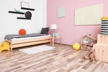 Children room interior with comfortable bed