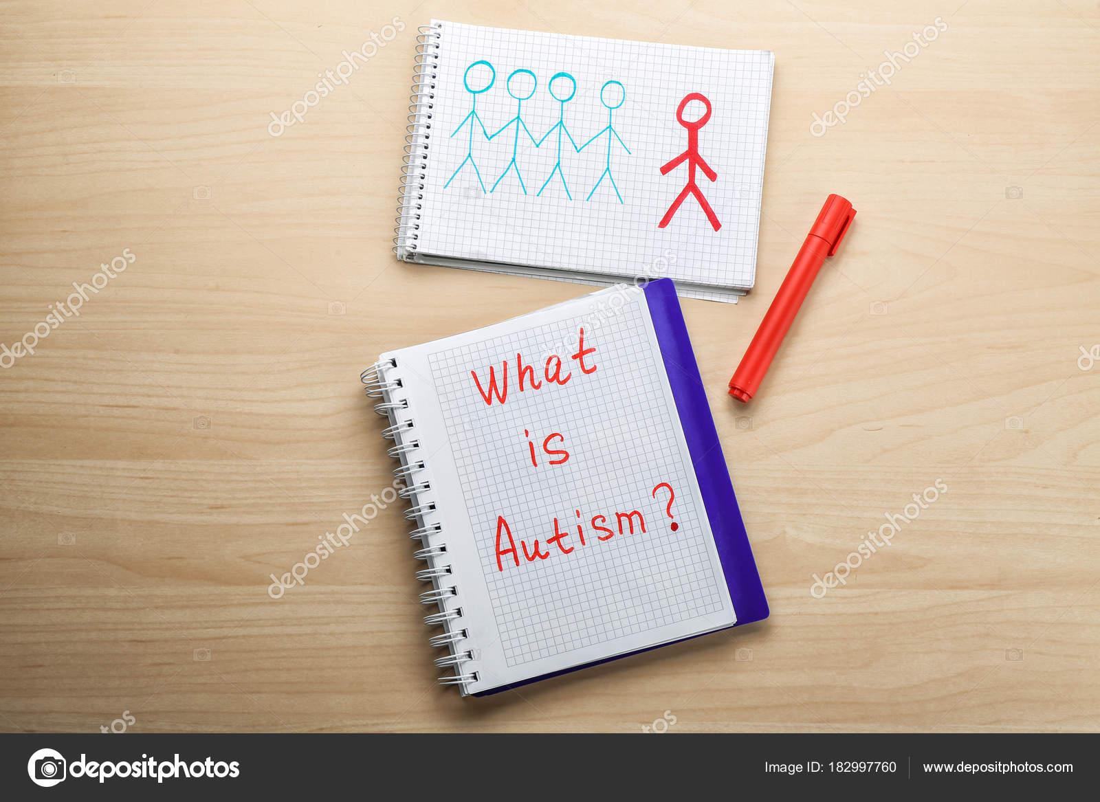 Cuaderno Con La Frase Qué Es El Autismo Y El Dibujo