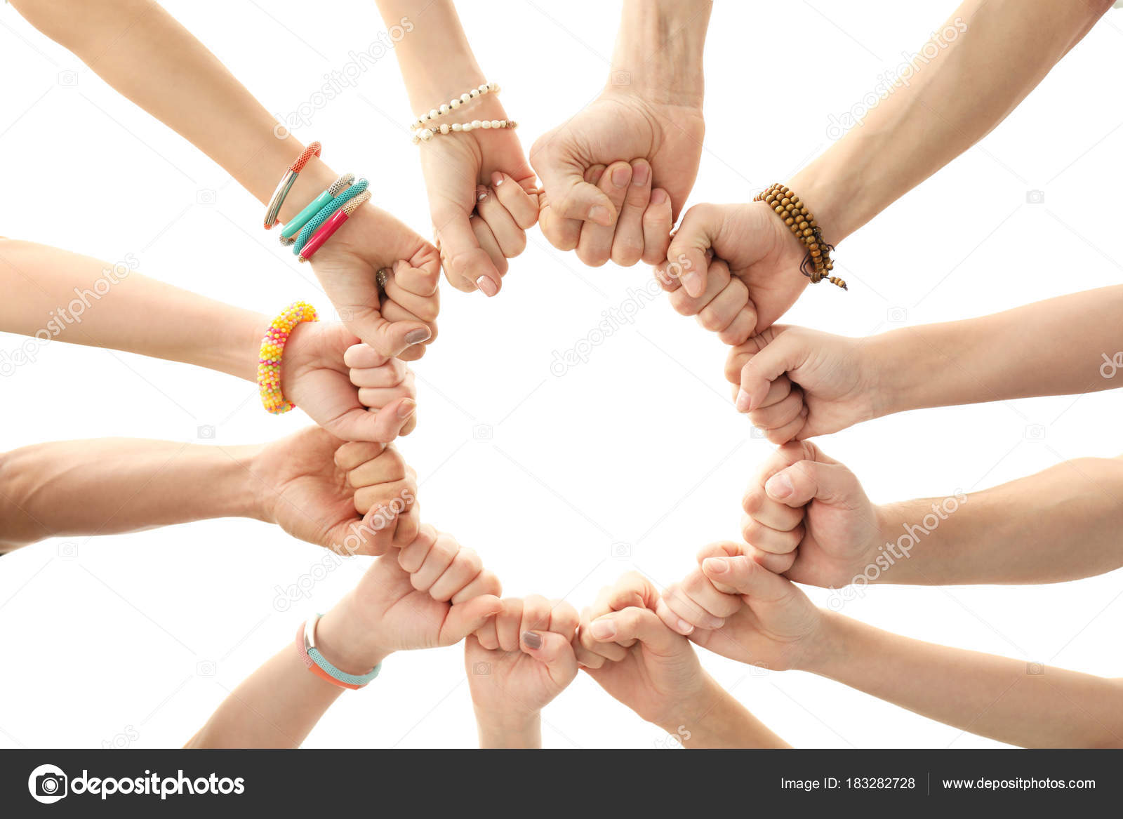 People Putting Hands Together As Symbol Of Unity Stock Photo C Belchonock 183282728
