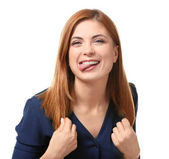 Photo Portrait of beautiful funny woman on white background