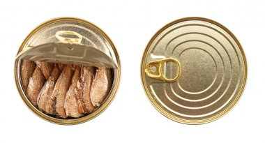 Closed and open tin cans with fish on white background