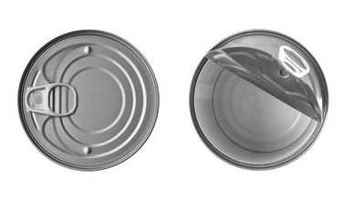 Closed and open tin cans on white background
