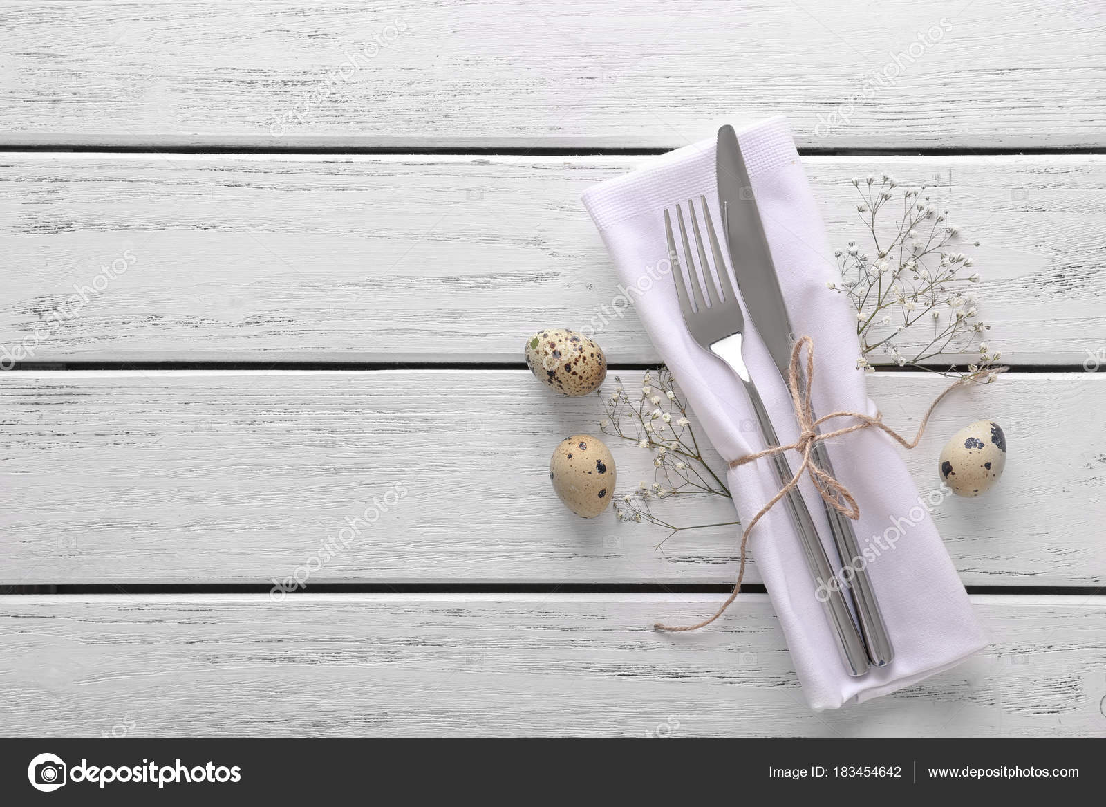 Beautifully Decorated Cutlery Eggs Easter Table Setting Wooden ...